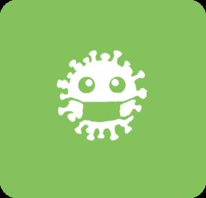 Symbol: Corona-Virus mit Maske
