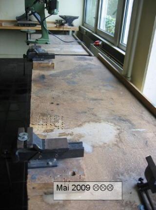 Die Werkbänke, Drei-Burgen-Schule, vor Beginn des Projektes