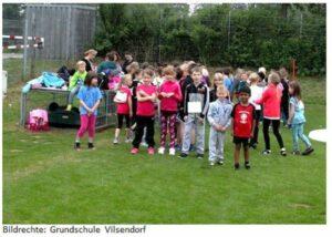 Die Schüler der Grundschule Vilsendorf aktiv beim Sponsorenlauf