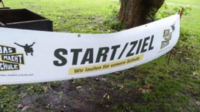Banner von Das mach Schule für den Sponsorenlauf der Deichschule Schweiburg