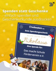 Spenden statt Geschenke - Nikolaus