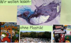 """Plakat """"wir wollen lesen - ohne Plastik"""""""