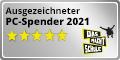 """Siegel """"ausgezeichneter PC-Spender 2021"""" Button 120x60"""
