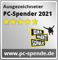 """Siegel """"ausgezeichneter PC-Spender 2021"""" Square-Button"""