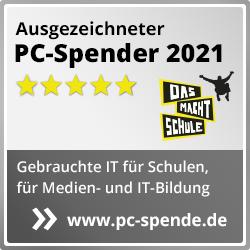 """Siegel """"ausgezeichneter PC-Spender 2021"""" Square Popup"""